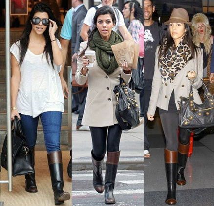 celebs two toned riding boots