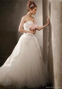 Satin Faced Organza Ball Gown with Corsage Detail