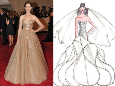 Anne hathaway wedding dress sketch images