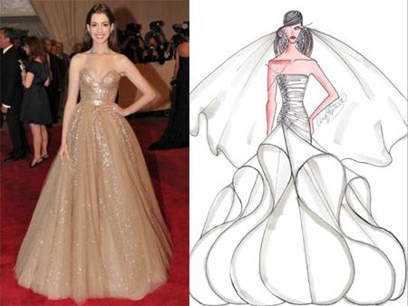 Wedding Dress Designers on Our Favorite Bridal Designers Sketch Anne Hathaway   S Wedding Dress