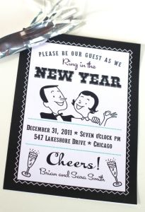 Printable New Year's Eve Party Set Invitations, Banner, and Flags