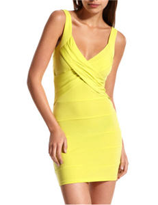 Charlotte Russe Criss Cross-Front Neon Dress
