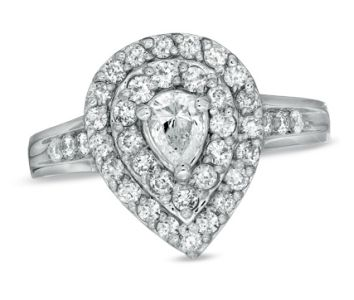 1 CT Diamond Pear-Shaped Cluster Frame Engagement Ring