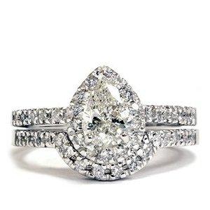 1.25 CT Pear Shaped Diamond Halo Engagement Ring