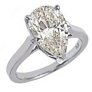 3.25 CT Pear Brillant Cut Diamond Solitaire Engagement Ring