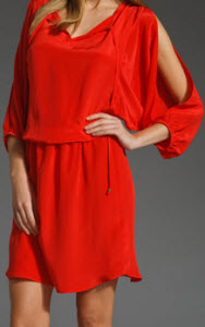 AKIKO Cut Out Sleeve Dress in Indian Red