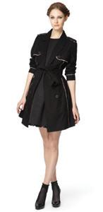 Black trench coat ($54,99), Flared black dress ($59.99)
