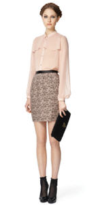 Blush blouse ($34.99), Lace skirt ($29.99), Lace clutch ($29.99)