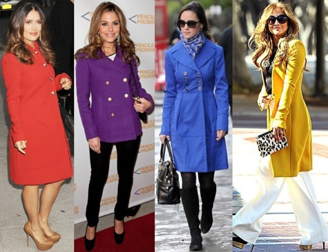 Colorful Winter Coats | J.Crew Purple Peacoat | Yellow Wool Coat ...