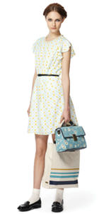 Cycle dress ($44.99), Canvas tote ($39.99), Blue floral bag ($39.99)