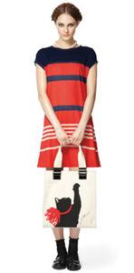 Jersey dress ($34.99), Milu print tote ($39.99)