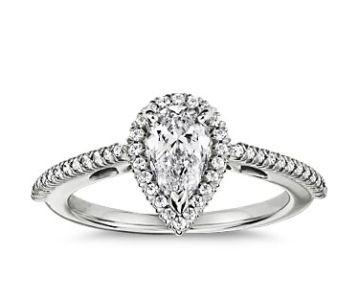 Pear Shaped Halo Diamond Engagement Ring