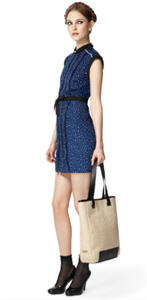 Pleated dress ($39.99), Woven tote ($49.99)