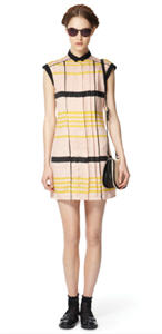 Pleated shift dress ($39.99), woven bag ($24.99)