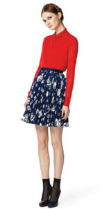 Red sweater ($39.99), Red blouse ($26.99), Pleated skirt ($29.99)