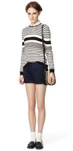 Sailor sweater ($32.99), Sheer blouse ($34.99), Cuffed shorts ($34.99)