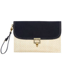 Straw and canvas clutch ($29.99)