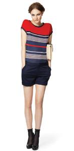 T-shirt ($19.99), Cuffed shorts ($26.99), Straw clutch ($29.99)