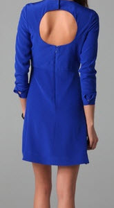 Tibi Long Sleeve Dress With Cut Out Back