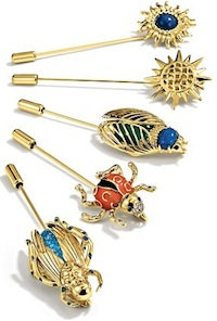 Stone Sunburst, Op Art Sunburst, Beetle, Ladybug, and Grasshopper Pins