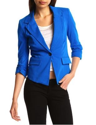 Bright Blue Knit Blazer