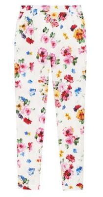 Dolce & Gabbana Floral Print Stretch Cotton Peplin Poplin Pants