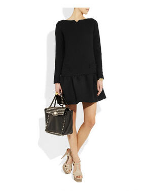 Dropped-waist stretch-wool dress