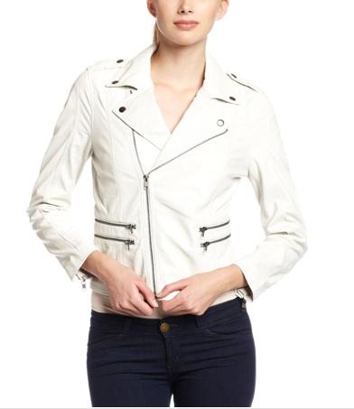 Womens White Leather Jacket - Jacket