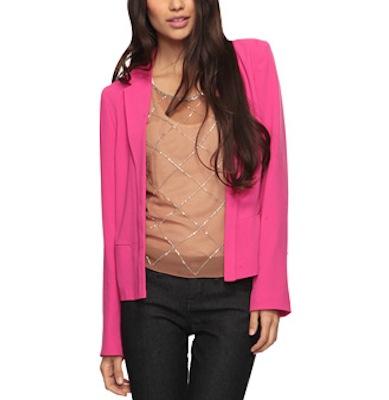 Long Collar Blazer in Hot Pink