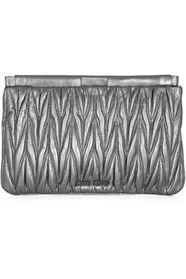 Miu Miu Metallic Matelasse Leather Clutch