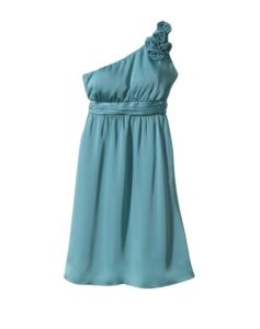 One-Shoulder Rosette Chiffon Dress