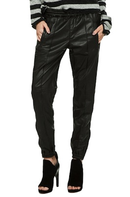 R13 Leather Track Pant in Black