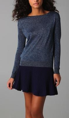 Rebecca Taylor Lurex Crew Neck Sweater