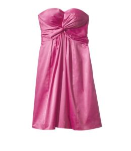 Strapless Twist Front Sweetheart Sateen Dress