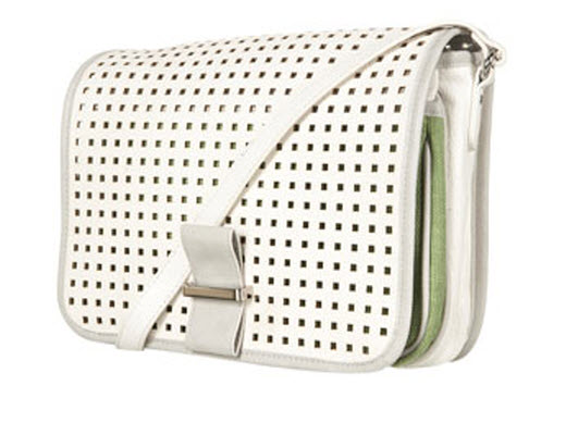 White Perforated Crossbody Bag