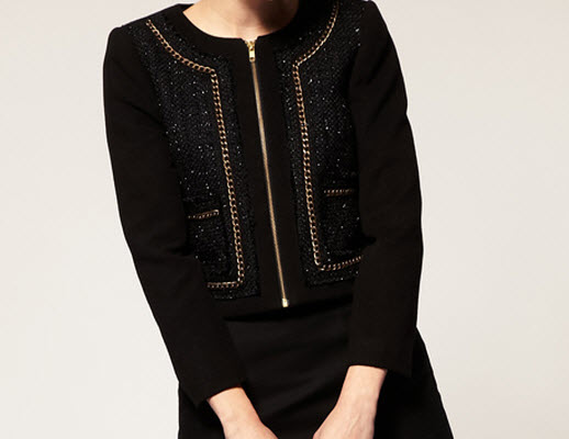 ASOS Jacket with Boucle and Gold Chain Trim