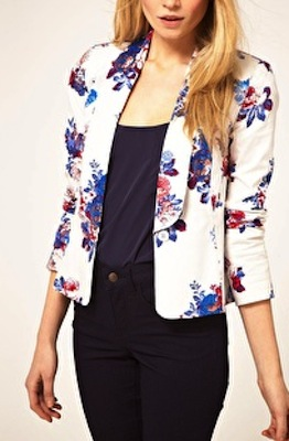 ASOS Exclusive Blazer In White Floral Print