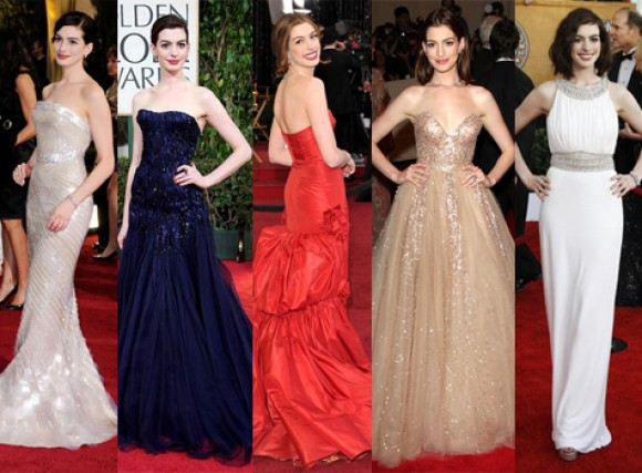 Anne hathaway wedding dress anne hathaway rachel zoe rachel zoe has styled some of anne hathaways most successful red carpet looks including 8 dresses in 1 night during annes gig as oscar host last year junglespirit Gallery