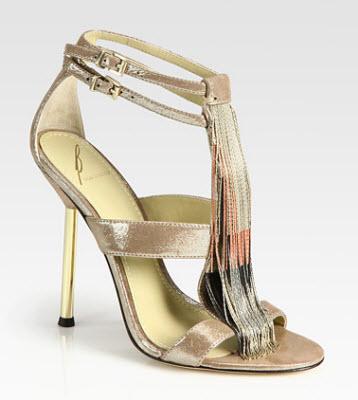B Brian Atwood Lenoire Metallic Leather Metal Fringe T Strap Sandals