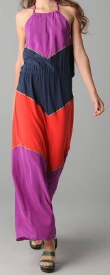 BCBGMAXAZRIA Dee Coloblock Halter Maxi Dress