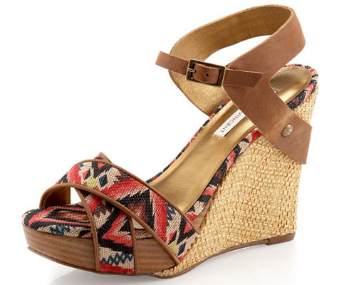 Cynthia Vincent Naomi Aztec-Printed Platform Wedge Sandal