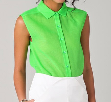 Neon Trend Spring 2012 Trends #1: DVF Jess Sleeveless Button Down Top