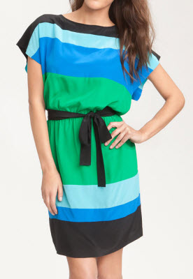 Donna Morgan Colorblock Silk Crepe de Chine Dress