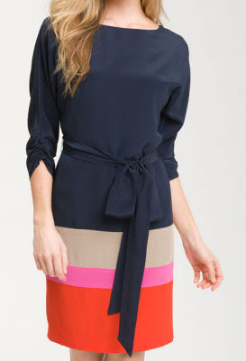 Eliza J Colorblock Silk Crepe de Chine Dress
