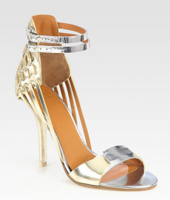 Givenchy Metallic Leather and Suede Sandals