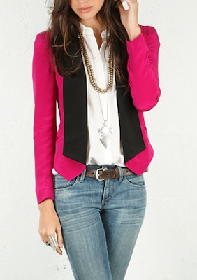 Rebecca Minkoff Becky Jacket in Fuschia/Black