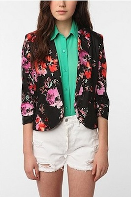 Sparkle & Fade Printed Cropped Ruched-Sleeve Blazer