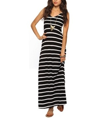 White Dress on Black And White And Striped All Over  Everyone   S Favorite Maxi Dress