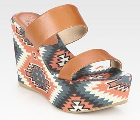 Theodora & Callum - Tribal-Print Leather & Linen Wedge Sandals