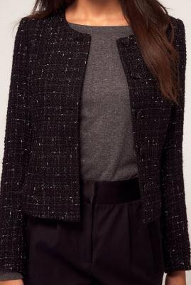 Vero Moda Boucle Tweed Jacket in Checked Weave